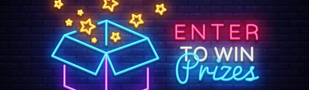 Enter to Win Prizes Neon Sign Vector. Gift neon sign, Win super prize design template, modern trend design, night neon signboard, night bright advertising, light banner, light art. Vector illustration